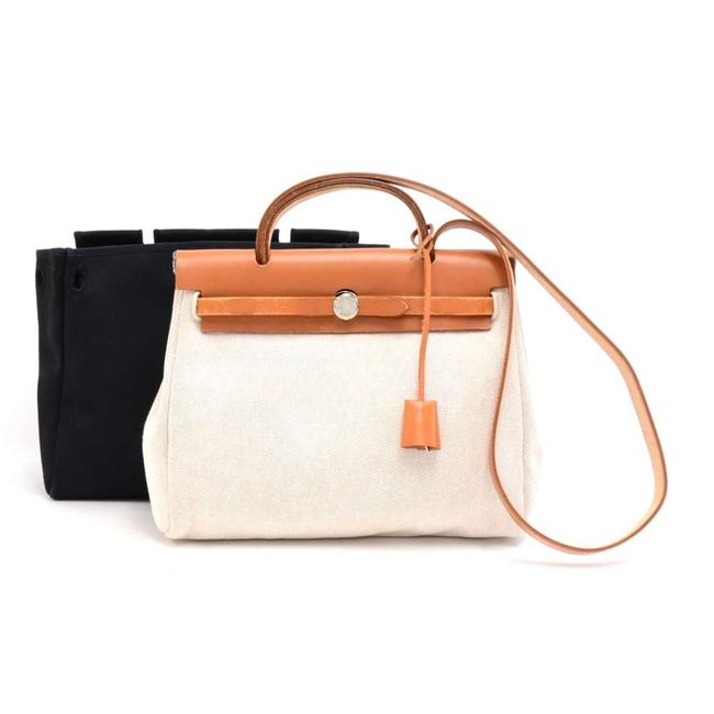 Item - Herbag Zip Pm 2 In 1 Cream X Black and Brown Leather Sho White Canvas Shoulder Bag