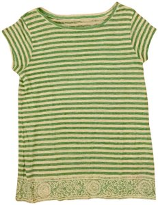Calypso St. Barth Striped Linen T Shirt Green and white