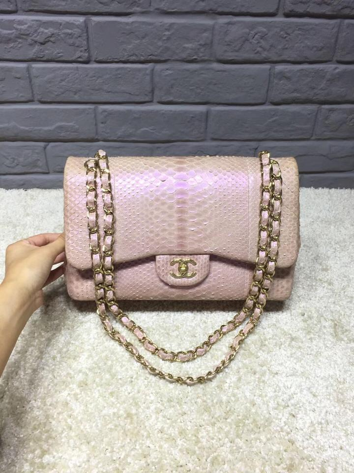c4c422db1378 Chanel Iridescent Classic Double Flap Pink Python Skin Leather ...