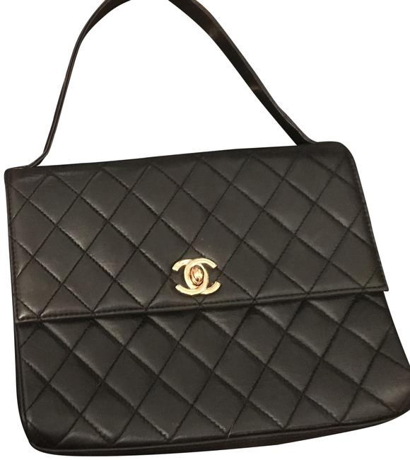 Item - Bag Classic Flap Vintage Mini with Collapsible Top Handle Black Lambskin Leather Baguette