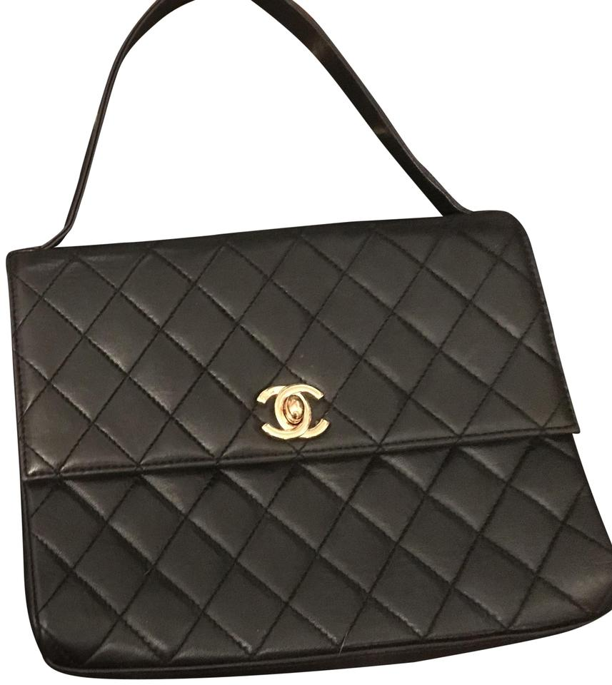 Chanel Bag Classic Flap Vintage Mini With Collapsible Top Handle Black Lambskin Leather Baguette