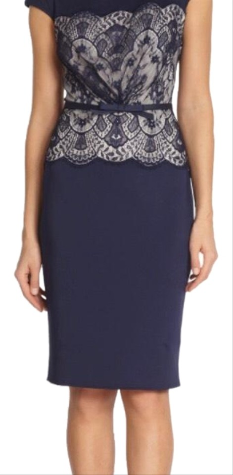 Tadashi Shoji Navy Blue Designer Mid Length Formal Dress Size 16 Xl