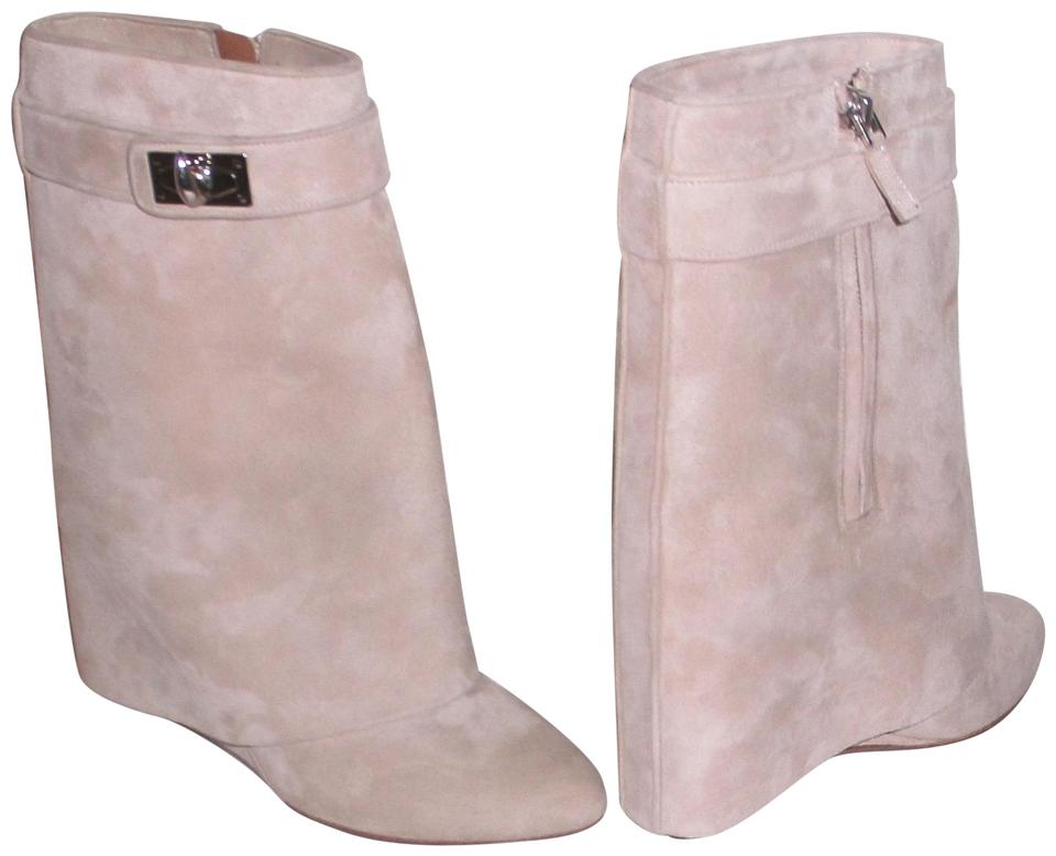 69d53f1948ee Givenchy Beige Shark Lock Suede Fold Over Wedge Mid-calf Boots ...