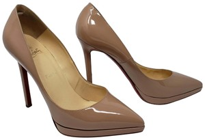 Christian Louboutin So Kate Pigalle Pointed Toe Patent Leather Plato Beige Pumps