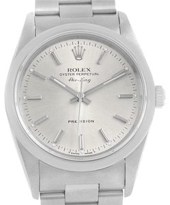 Rolex Rolex Air King 34 Silver Baton Dial Steel Mens Watch 14000
