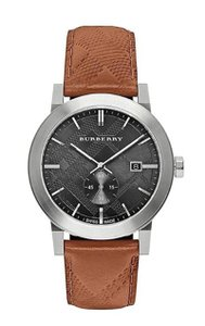 """Burberry New Burberry Men's """"The City"""" Silver Black Dial Brown Band BU9905"""