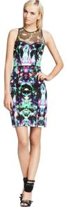 MILLY Mesh Floral Piped Sheath Racerback Dress