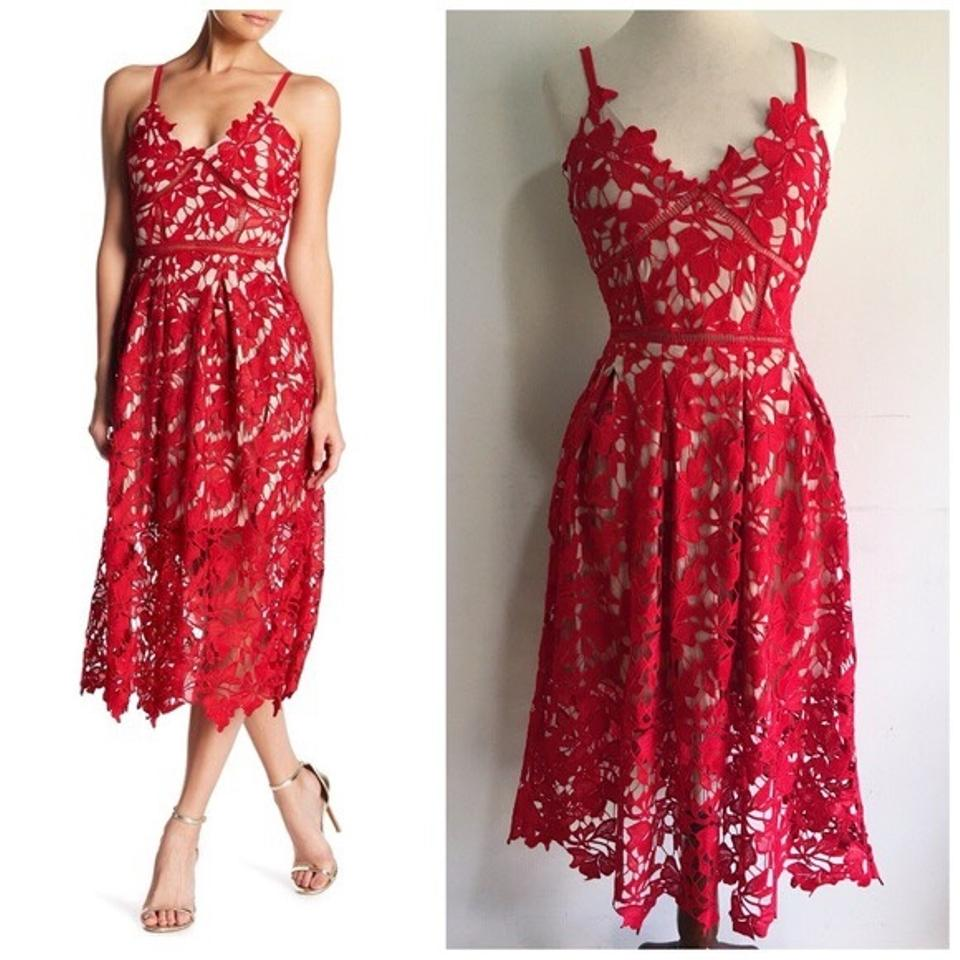 f641329600163 Love Ady Red Lace Fit and Flare Cocktail Dress. Size  4 (S) Length  Mid- Length ...