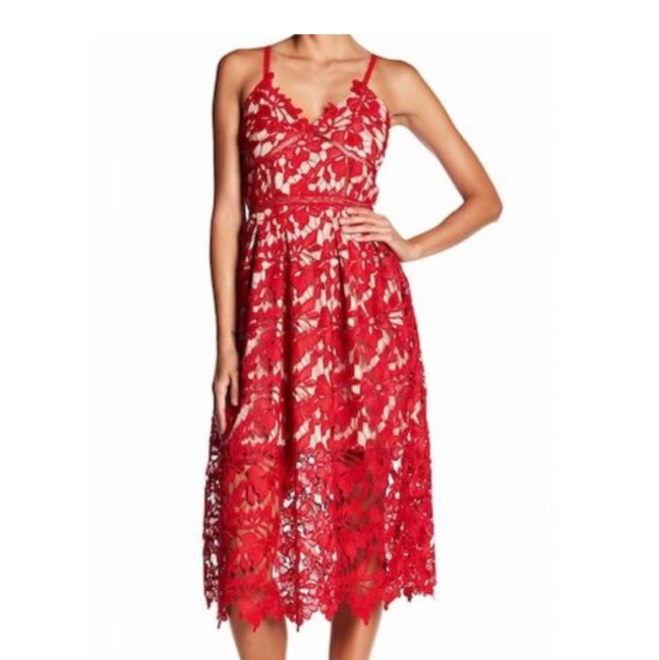 93ad55839727a Love Ady Red Lace Fit and Flare Mid-length Cocktail Dress Size 4 (S) -  Tradesy