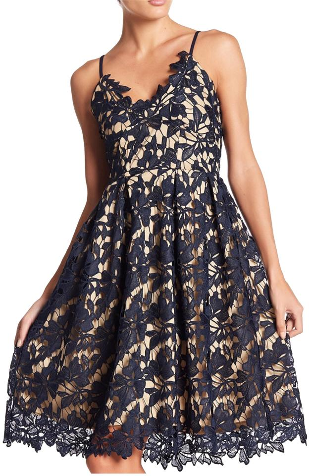 2385260e36c07 Love Ady Navy Lace Fit and Flare Mid-length Cocktail Dress Size 12 ...