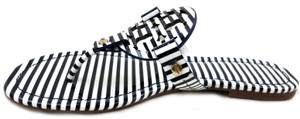 Tory Burch Flip Flops Bold Logo Cutout Leather Black and White Patent Sandals