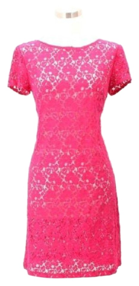 Donna Morgan Pink A13 Designer Small Floral Lace Sundress Mid Length