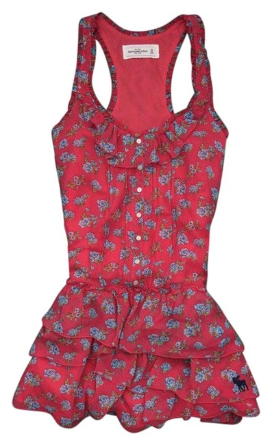 Item - Pink Jessica Floral Tiered Polyester Sleeveless Mid-length Short Casual Dress Size 8 (M)