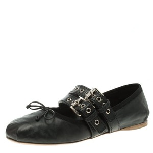 Miu Miu Leather Ankle Black Flats