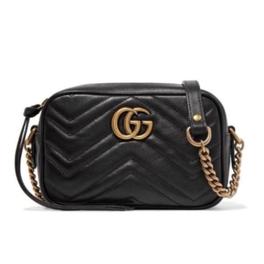 Gucci Marmont Mini Quilted Leather Shoulder Chain Cross