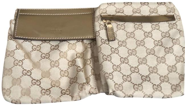 Item - Fanny Pack Gold Beige and Pale Pink Canvas Baguette