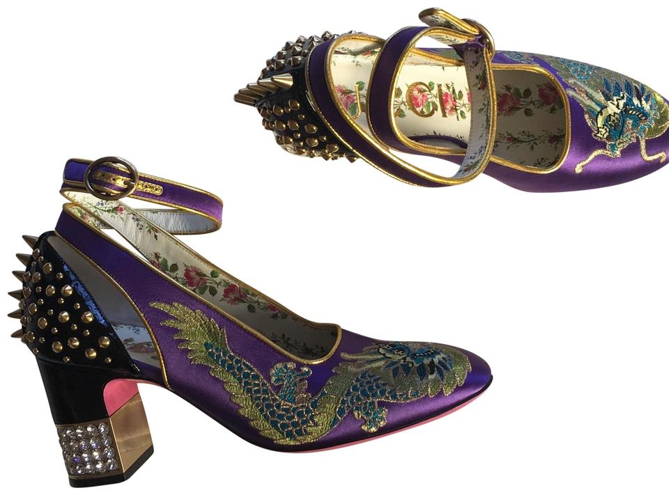 4a93a38588c Gucci Embroidered Logo Satin Leather Studded purple Pumps Image 0 ...