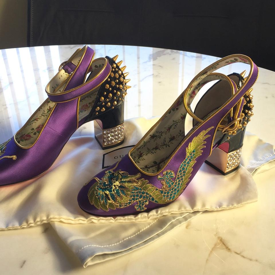 3899066a04a Gucci Embroidered Logo Satin Leather Studded purple Pumps Image 9.  12345678910. 1 ∕ 10