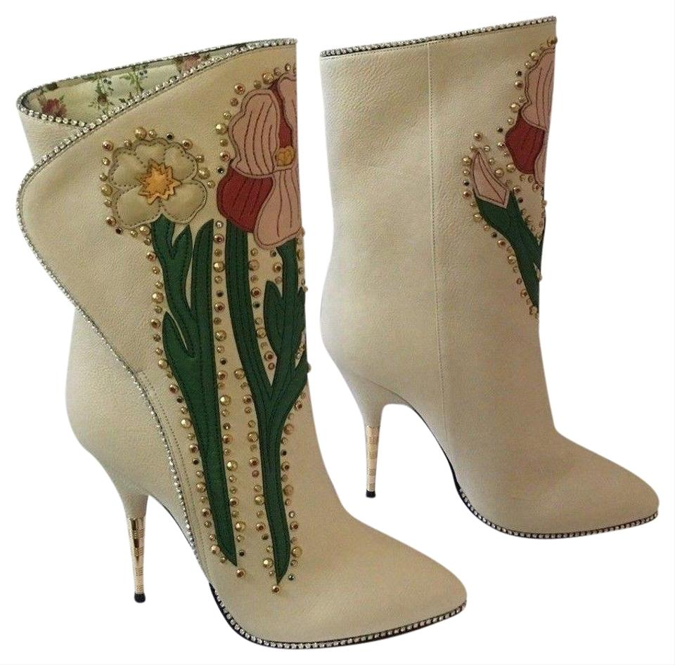 708db49f5ee Gucci Floral Leather Embellished Applique Crystal cream Boots Image 0 ...