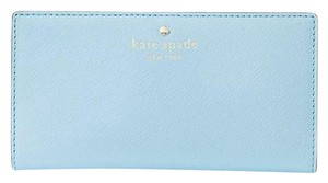 Kate Spade Kate Spade Mikas Pond Sky Blue Crosshatched Leather Nisha Wallet