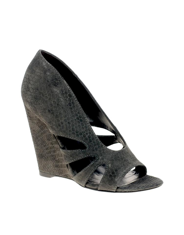 Elizabeth Suede and James Black Stash Suede Elizabeth Cutout Wedges b70249
