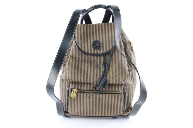 Item - Pequin Stripe 31fz0629 Brown Canvas Backpack