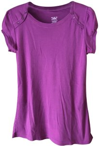 MKM Designs Pullover Rounded Neckline 3 Button Accent Cap Sleeves Banded Tunic