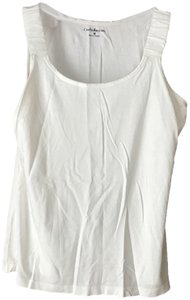 Croft & Barrow Hidden Elastic Rounded Neckline Cotton/Modal Machine Washable Tumble Dry Top White
