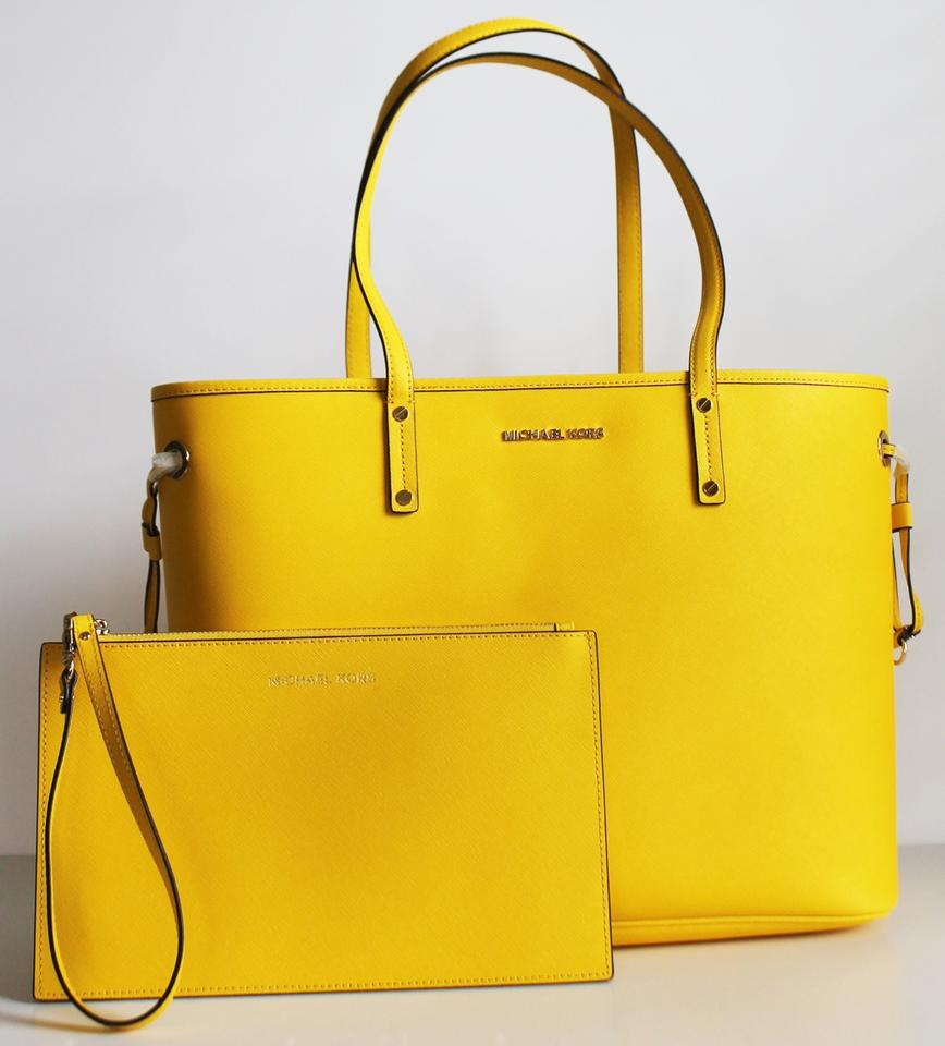 51a3c90d08 Michael Kors Jet Set Travel Large Drawstring with Pouch Citrus Yellow White  Textured Pvc Tote
