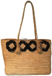 Annabel Ingall Straw Floral Applique Tote in light tan