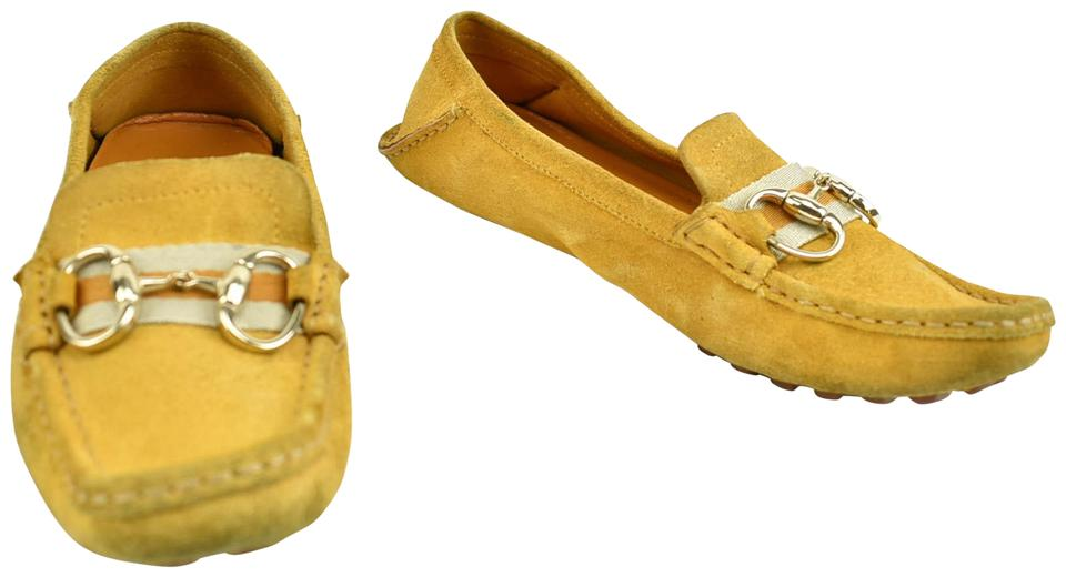 21556bddc Gucci Golden Yellow Leather & Horsebit Loafers / Flats Size US 6 ...