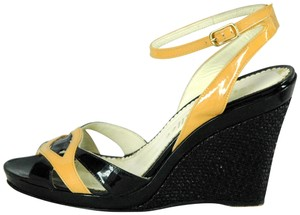 Bettye Muller Patent Leather Strappy Ankle Strap Black and Tan Sandals