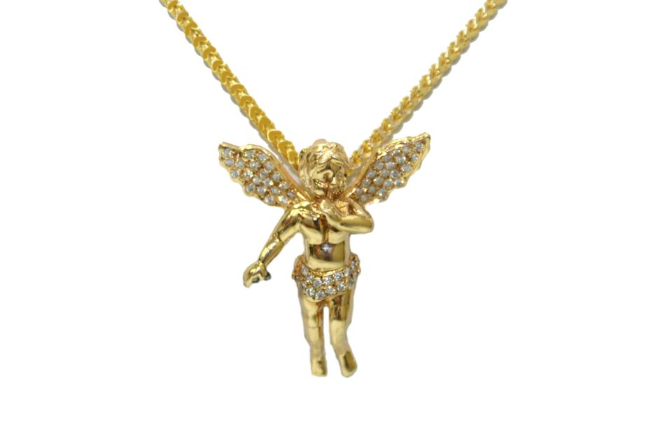 fcd30ee2b4180 Yellow Gold Diamond 14kt. Franco Chain with Angel Pendant Necklace 67% off  retail