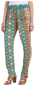 Gypsy05 Fit Contrast Paisley Drawstring/Elastic Copper Hardware Slant/Patch Pockets Relaxed Pants Multi-Color Teal