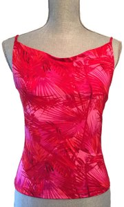 INC International Concepts Palm Leaves Coral Top Red Pink