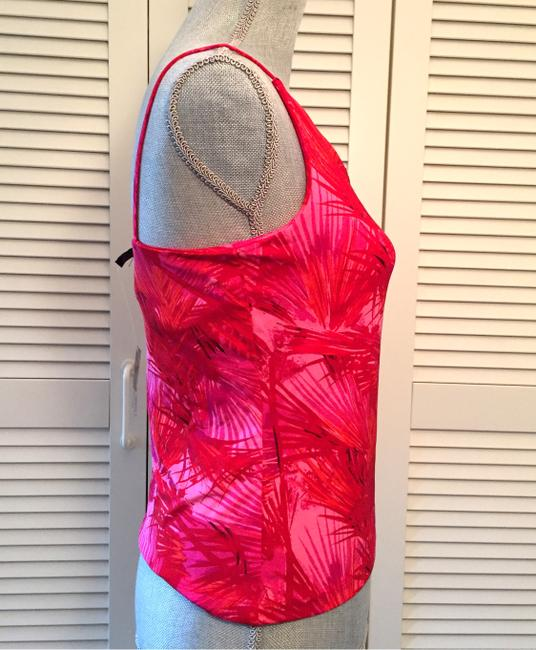 INC International Concepts Palm Leaves Coral Top Red Pink Image 1