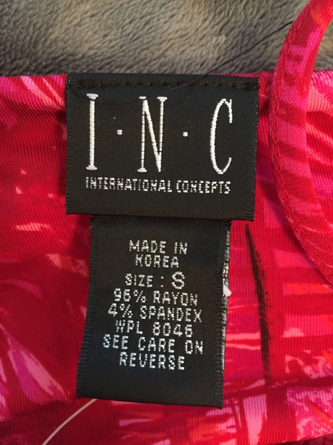 INC International Concepts Palm Leaves Coral Top Red Pink Image 3