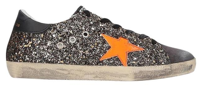 Item - Black & Orange Superstar Glitter Low-top Sneakers Size EU 37 (Approx. US 7) Regular (M, B)
