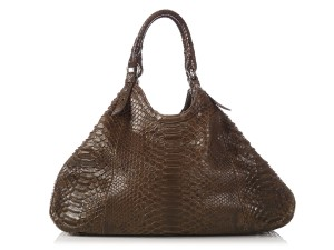 Cole Haan Brown Snakeskin Hobo Triangle Hn.ep0525.09 Tote in Olive Green