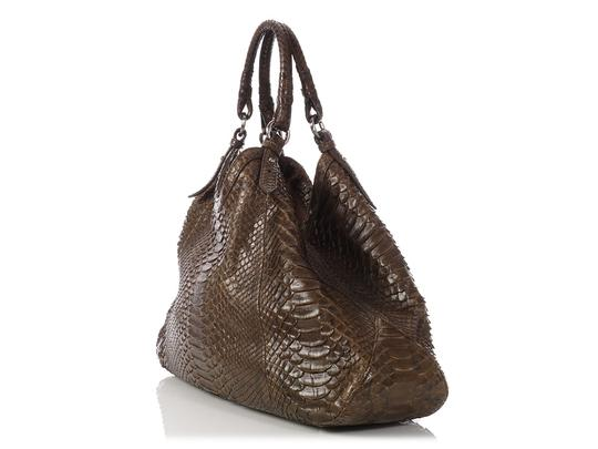 Cole Haan Brown Snakeskin Hobo Triangle Hn.ep0525.09 Tote in Olive Green Image 2