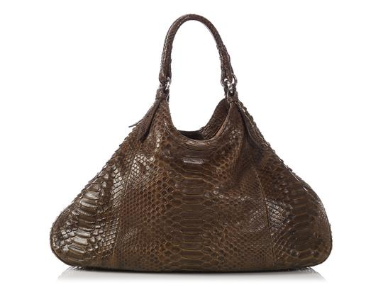 Cole Haan Brown Snakeskin Hobo Triangle Hn.ep0525.09 Tote in Olive Green Image 3