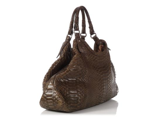 Cole Haan Brown Snakeskin Hobo Triangle Hn.ep0525.09 Tote in Olive Green Image 4