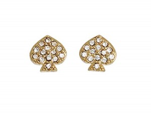 Kate Spade 12K Gold Plated Signature Pave Crystal Mini Spade Stud Earrings