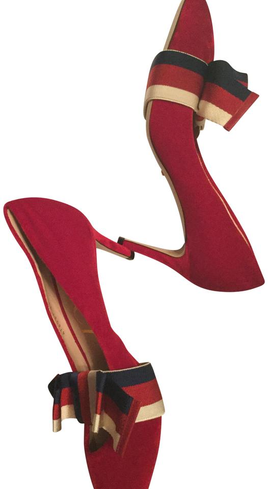 1eef8c01d6 Gucci Red Suede with Removable Web Bow Pumps Size EU 39 (Approx. US 9)  Regular (M, B) 29% off retail