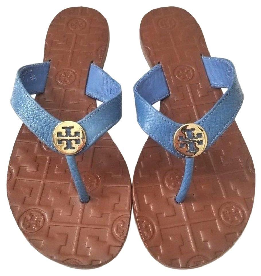 de741c07d Tory Burch Blue New In Box Leather Flat Gold Logo Us6 Sandals Size ...