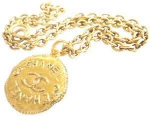 Chanel Chanel CC logos double sided coin pendant chain necklace