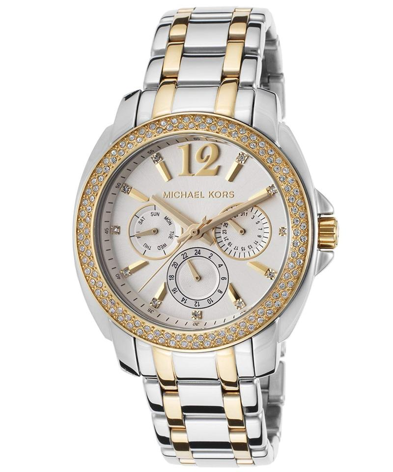 97d329e50078 Michael Kors Gold Silver Mk5693 Cameron Chronograph Crystal Watch Image 0  ...