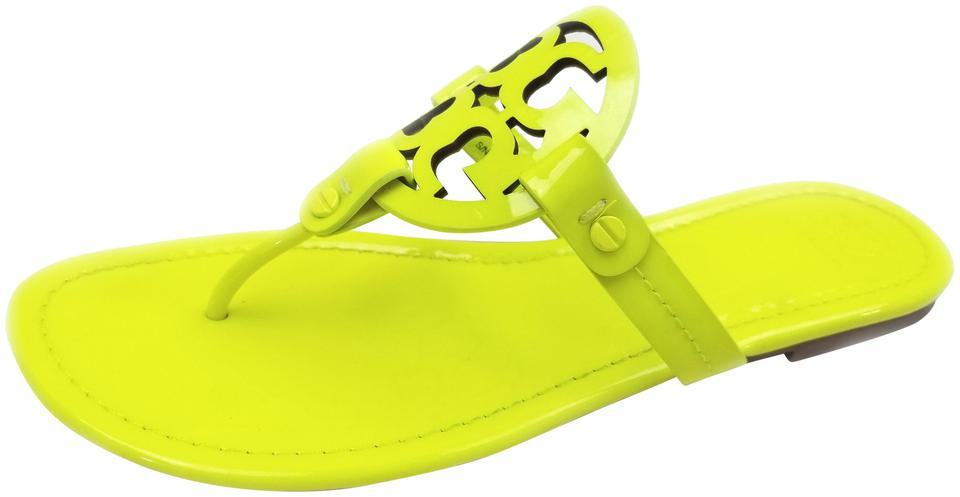 e9badd277 Tory Burch Flip Flops Bold Logo Cutout Leather Neon Yellow Patent Sandals  Image 0 ...