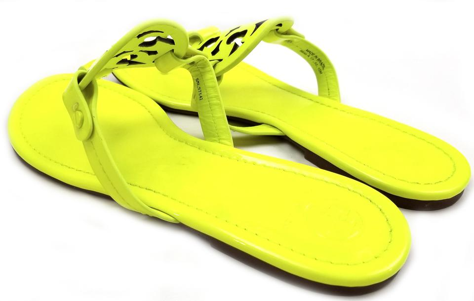 5399b2aa6 Tory Burch Flip Flops Bold Logo Cutout Leather Neon Yellow Patent Sandals  Image 7. 12345678