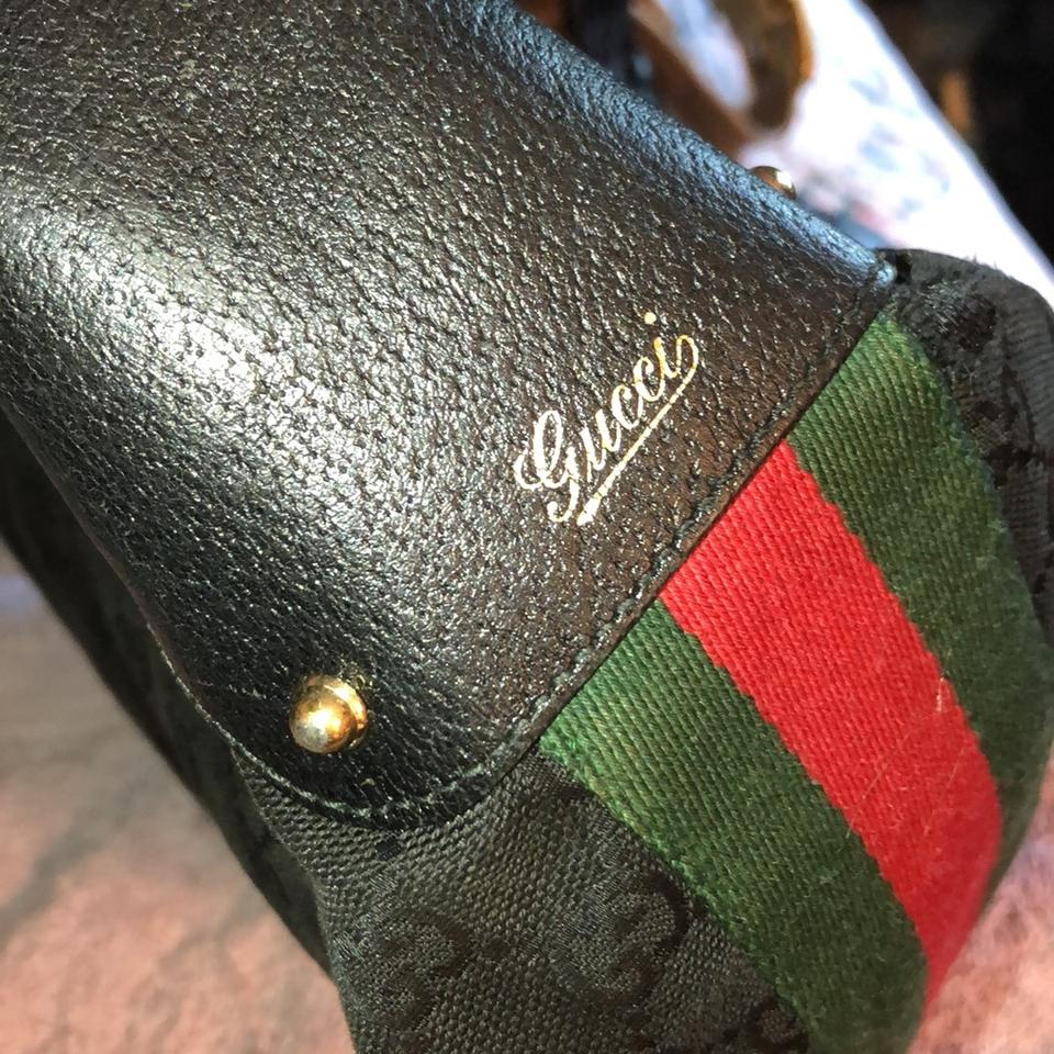 f57fb2b5718 Gucci Monogram with Signature Green Red Stripe Black Jacquard ...
